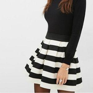 Black and White Striped Skirt Forever 21